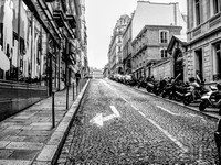 HDR black and white photos of a street in Paris, France
