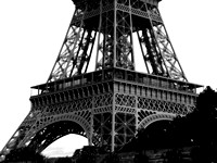 Eiffel Tower low angle view - black and white