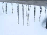 Close-Up Of Icicles On Railing